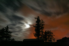 ...of Ruins And A Red Nightfall (Michael G Devereux) Tags: longexposure moon tree night clouds glow luna sodium nighttimephotography