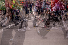 The Crowd Passes By (Phil Roeder) Tags: iowa multipleexposure runners roadrace desmoines canonef70200mmf4lusm canon6d grandbluemile