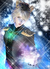 I made a Male version of Elsa from Frozen...xD (Light_Aoshimori) Tags: blue portrait sky snow anime male ice mystery night frozen king magic royal prince sparkle virtual blonde mysterious cape crown elsa aura bishounen imvu bishie epaulette
