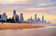 A Surfer's Paradise sunset. (grantthai) Tags: sunset sea beach sand australia surfersparadise goldcoast