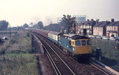 6575 is seen working coaches through Belvedere Station on 19-9-70. I Cuthbertson collection (I C railway photo's) Tags: belvedere crompton 6575 class33