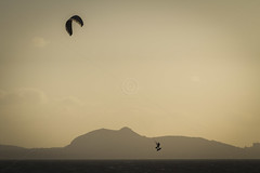 Kite Surfing (John Barratt) Tags: sunset kite beach edinburgh surfing watersports arthursseat kitesurfer eastlothian longniddry