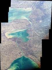 Two Great Lakes and One Not-so-Great Lake (sjrankin) Tags: ohio panorama toronto canada lakeerie michigan edited detroit greatlakes nasa toledo iss lakestclair 23april2016 iss047 iss047e64762 iss047e64763 iss047e64764 iss047e64765 iss047e64766