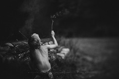 Fun times... (privizzinis passion photography) Tags: boy summer camp people blackandwhite nature monochrome childhood children fun outdoors fire sticks child smoke campfire freelensed