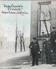 SE Adrian Lenawee MI 1912 ADRIANS FINEST Police Officers Policemen and THE CAPTAIN outside the City Police Station WOnderful View of Lenawee County Law Enforcement- (UpNorth Memories - Donald (Don) Harrison) Tags: travel usa heritage history tourism st vintage antique michigan postcard memories restaurants hotels trailer roadside upnorth steamship cafes excursion attractions motels mackinac cottages cabins campgrounds city bridge island car upnorthmemories rppc wonders big railroad michigan memories mac state parks entertainment natural harrison roadside ferry travel don tourist mackinaw stops upnorth straits ignace