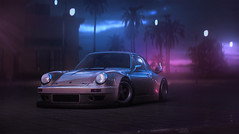 Welcome to Miami (Mikhail Sharov) Tags: auto wet car weather sport night photoshop miami outdoor racing porsche vehicle retouch needforspeed rwb nfs