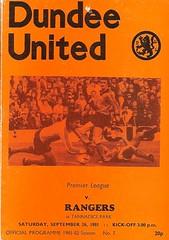 Dundee United v Rangers 19810926 (tcbuzz) Tags: park club scotland football dundee united scottish premier league programme tannadice