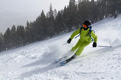 Smooth (Russell Osborne) Tags: green jump colorado neon skiing carve breckenridge oakley breck headskis
