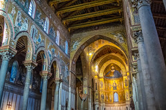 Monreale Cathedral, Sicily Begun in 1174 by William II, and in 1182 the church elevated to the rank of cathedral by Pope Lucius III. The most amazing cathedral I've been in; Arab, Byzantine and Norman influencea combined (gsxralex) Tags: italy church architecture italian italia cathedral islam norman christian sicily christianity byzantine monreale mediterranian