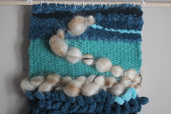 Detail of Blue Green Weaving (thenotionsbox) Tags: wall handmade hanging woven weaving weave wallhanging handwoven