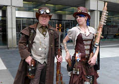 Well Armed Steampunk (FrogLuv) Tags: costumes anime cosplay manga steampunk detroitmichigan cobocenter detroitriverwalk youmacon2015