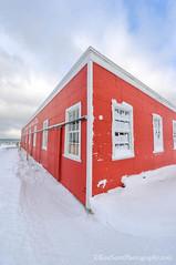 Glen Haven ... cannery corner (Ken Scott) Tags: winter red usa snow michigan january bluesky lakemichigan greatlakes hdr cannery freshwater voted glenhaven leelanau 2016 45thparallel sbdnl sleepingbeardunenationallakeshore mostbeautifulplaceinamerica