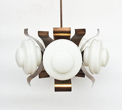 Midcentury Modern Ceiling Lamp / Five Arm Chandelier / Pendant Light / Copper & Glass / 70s Yugoslavia (orangem6) Tags: light white glass lamp century gold 60s arm five ceiling retro chandelier sputnik brass mid pendant