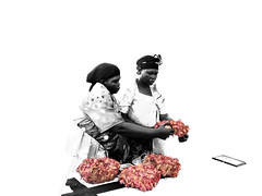 Sisters (// Ladwar Photography //) Tags: africa family pink flowers red people flower green loss photoshop sadness design intense emotion african sony traditional cybershot east clothes funeral fabric motorcycle uganda sorrow colormanipulation acholi