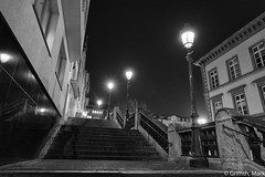 Stairs at Night (Mark Griffith) Tags: bw work amazon amazoncom luxembourg silverefexpro2 sonya7rii 20160121dsc01782edit