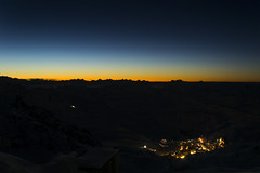 Val Thorens Sunset (AJJackson012) Tags: blue sunset sky orange mountain black ski love rural sunrise landscape lights town nikon skiing village outdoor background peak val distance amateur valthorens thorens d3100