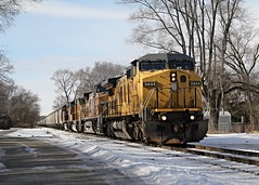 South Read Road and UP 9444 (Laurence's Pictures) Tags: railroad chicago wisconsin train pacific muscle union rail railway line northwestern janesville cnw