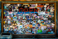 The Window (ISP Bruno Laplante) Tags: wood old arizona window colors vintage store colorful open general stickers az 66 route hackberry