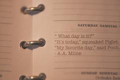 week6theme (Jet in Moscow) Tags: metal paper book words calendar quote saturday pooh winnie agenda binder samstag zaterdag 52weeksthe2016edition week62016 weekstartingfridayfebruary52016
