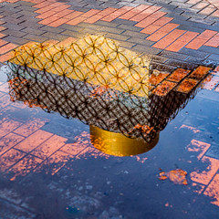 Patterns (Martyn.A.Smith) Tags: colour reflection water canon buildings outdoors birmingham pattern pavement shapes sigma s squareformat daytime westmidlands brickwork 30mm 500d englanduk