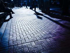 Sidewalk Shadows. (TMimages PDX) Tags: road street city shadow people urban sun buildings portland geotagged photography photo image bricks streetphotography streetscene sidewalk photograph pedestrians pacificnorthwest avenue vignette fineartphotography phoneography