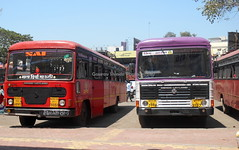 Two beast from Konkon at KolhapurMSRTC Hirkani and Parivartan at Kolhapur CBS (gouravshinde94) Tags: bus buses konkon ashokleyland devgad sawantwadi msrtc parivartan hirakani
