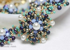 Haleth in Deep Blue (BeeJang - Piratchada) Tags: blue white green gold golden necklace beads handmade turquoise jewelry bead pearl beading beaded beadwork beadweaving czechfirepolished superduo