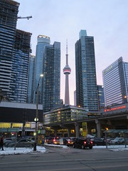 CN Tower framed by newer arrivals (Sean_Marshall) Tags: toronto tower skyscraper downtown cntower