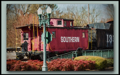 Southern Railway a la Topaz (gtncats) Tags: railroad abstract train canon vintage border caboose transportation frame impressionism southernrailway aoi midsouth ef70300mm topazlabs liquidlines canon70d photographyforrecreation topazimpression
