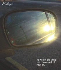 Be wise (R.F. Lupo (random off and on-ness, more off)) Tags: sunset sky sun west mirror evening afternoon sunsetting lookingback carmirror