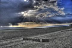 BEFORE THE RAIN (conespider) Tags: uk sea england sky beach clouds sunrise outside sand nikon outdoor stones hampshire gb 2016 tonemapped lepebeach