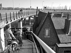 Living in Traffic area (LYSVIK PHOTOS) Tags: bridge people urban blackandwhite cars monochrome bicycle stairs outdoors photography traffic narrow manmadelandscape thenewtopographics buidlingexteriour