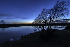 In the Afterglow. (muddlemaker1967) Tags: longexposure sunset moon tree nature water lens landscape nikon wildlife wideangle hampshire swans tamron 1735mm d700
