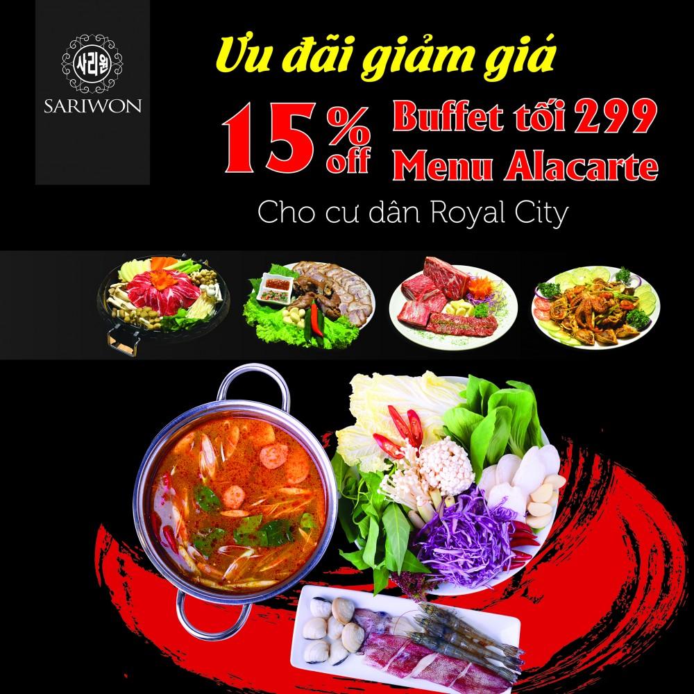 Sariwon giảm 15% menu buffet