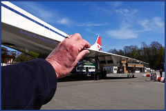 How Thin Is This Wing? (bokosphotos) Tags: hand airplanes concorde concord forcedperspective weybridge petrolpump airoplanes brooklandsmuseum gooddayout weybridgesurrey homeofconcord birthplaceofbritishmotorsport