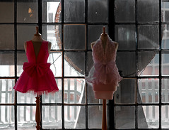 Pretty in Pink (hogsvilleBrit) Tags: pink red england window fashion liverpool grid dress bow frock atelier