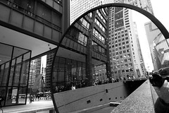 Back and Forth (Andy Marfia) Tags: camera blackandwhite bw selfportrait chicago reflection statue circle mirror loop geometry picasso f71 thompsoncenter daleyplaza clarkst iso250 150sec d7100 1685mm
