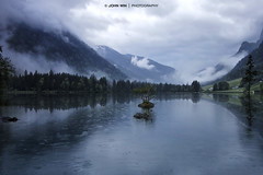 Foggy Lake (Johann Winterholler Fotografie) Tags: light mist mountain lake reflection water rock fog stone germany landscape bayern deutschland bavaria see nationalpark wasser mood nebel atmosphere berge lightning landschaft spiegelung mystic gebirge hintersee knigssee berchtesgarden
