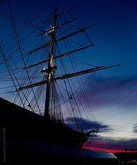 Cutty Sark (Matthew James Fox) Tags: city uk blue sunset shadow red summer color colour london history water colors river pier boat photo cool ship colours bright tea greenwich fast cuttysark british cutty sark fastest clippers clipper photgraphy siloutte 1869 photgrapher