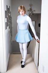 Artificiality (Lauren Close) Tags: white skirt transgender trans paleblue lycra