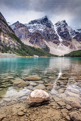 Dark skies at Moraine Lake (PIERRE LECLERC PHOTO) Tags: travel autumn canada mountains fall nature canon landscape rockies outdoors roadtrip canadian adventure explore glaciers rockymountains wilderness natgeo pierreleclercphotography 5dsr