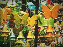 Musical Butterflies (R.F. Lupo (random off and on-ness, more off)) Tags: blue music orange bells butterfly garden gold october wind butterflies musical ornaments windchimes chimes terracottagardencenter omegageorgia