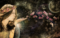 HippieGirl (clabudak) Tags: flowers composite photomanipulation stars artwork space surreal wreath hippie flowergirl universe awardtree crazygeniuses
