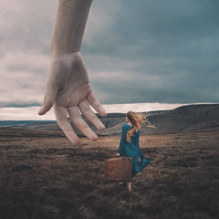 A Helping Hand (Adam Bird Photography) Tags: lighting clouds hair giant hand dress wind character fineart surreal atmosphere story feeling conceptual suitcase prop narrative snakepass adambird rosiehardy adambirdphotography