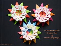 12 – Pointed Modular Star (Nr.5)  by Maria Sinayskaya (esli24) Tags: origami origamistar papierfalten mariasinayskaya origamistern esli24 ilsez 12pointedmodularorigamistar