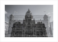 The Ghostly Graces (andyrousephotography) Tags: blackandwhite bw liverpool exposure waterfront multi pierhead tripleexposure liverbuilding thethreegraces portofliverpoolbuilding cunardbuilding