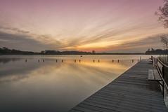Morgens am Westensee I (rahe.johannes) Tags: lake wasser wolken bank landschaft sonne sonnenaufgang schleswigholstein langzeitbelichtung badesee wolkenstimmung westensee badesteg lichtstimmung