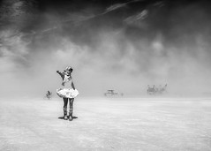 Mad Max 2 (Eric Zumstein) Tags: woman fuji playa x100 burningman2015 duststorme