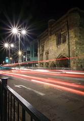 Magazine Gateway at Night (Explored) (John__Hull) Tags: street uk light england building night magazine de nikon long exposure university leicester trails sigma oxford gateway 1020mm montfort d3200 newarke