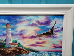 Lighthouse and Eagle Sunset by sherrylpaintz (sherrylpaintz) Tags: ocean flowers original sunset sky lighthouse nature water floral clouds sunrise painting landscape design rocks acrylic waves eagle stones turquoise ooak decorative painted wildlife country baldeagle doe buck crackle whitetail realism realistic art one artist painting wall wildlife folk rack kind acrylic sherrylpaintz